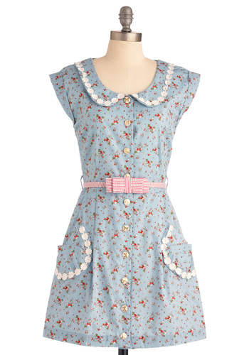 Breath of Fresh Prairie Dress in Sky by Di K Si - Mid-length, Casual, Vintage Inspired, Fruits, Blue, Multi, Floral, Bows, Peter Pan Collar, Pockets, Trim, Cap Sleeves, Shirt Dress, Spring, International Designer