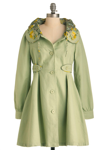 Flower Booth Coat - Long, Green, Buttons, Casual, Vintage Inspired, A-line, Long Sleeve, Yellow, Solid, Embroidery, Peter Pan Collar, Pockets, Spring, 2.5, International Designer
