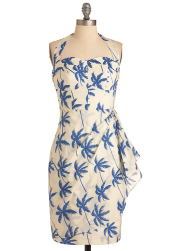 Palm of Your Hand Dress in Halter - Long, Pinup, Vintage Inspired, Blue, Print, Halter, Tan / Cream, Party, Sheath / Shift, Summer