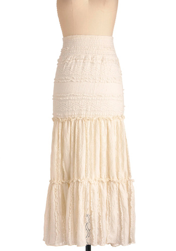 Beignet Beauty Skirt - Long, White, Lace, Boho, Ruffles, Maxi