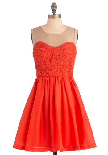 Coral Queen Dress - Mid-length, Party, Fairytale, Orange, A-line, Sleeveless, Tan / Cream, Lace
