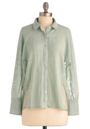 Pistachio Panache Top - Mid-length, Green, Solid, Lace, Casual, Long Sleeve, Boho, Buttons
