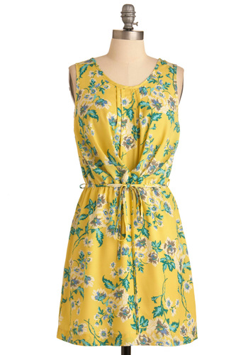 Here Comes the Sunshine Dress - Short, Yellow, Green, Floral, Sleeveless, Pleats, Party, Sheath / Shift, Spring