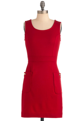 Books You've 'Red' Dress - Red, Solid, Buttons, Pockets, Sheath / Shift, Sleeveless, Exposed zipper, Party, Tank top (2 thick straps), Short, Work, Scholastic/Collegiate, Holiday Sale, Tis the Season Sale