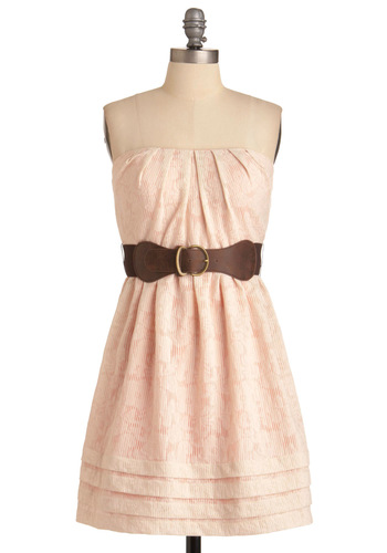Soft and Sweet Dress - Pink, Tan / Cream, Print, Pleats, A-line, Strapless, Party, Mid-length