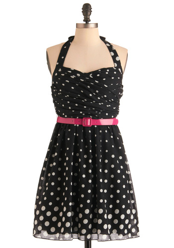 Criterion for Karaoke Dress - White, Polka Dots, Halter, Party, Pink, Black, Sheath / Shift, Mid-length, Fit & Flare