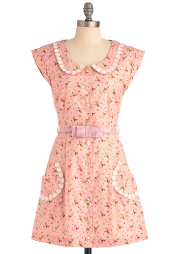 Breath of Fresh Prairie Dress in Strawberry by Di K Si - Mid-length, Casual, Vintage Inspired, Fruits, Pink, Multi, Floral, Bows, Peter Pan Collar, Pockets, Trim, Shirt Dress, Cap Sleeves, Spring, International Designer