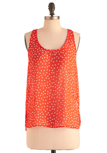 Nonpareil Style Top - Casual, Orange, White, Polka Dots, Tank top (2 thick straps), Mid-length