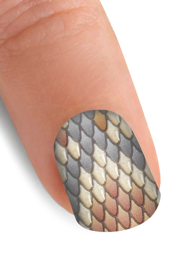 At Your Fingertips Nail Stickers in Python - Multi, Brown, Tan / Cream, Grey, Animal Print, Statement