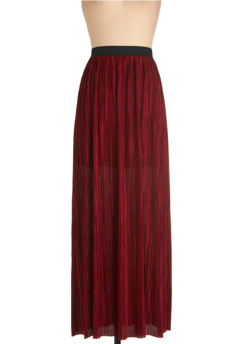 Urban Romance Skirt - Long, Red, Black, Boho, Pleats, Party, Maxi
