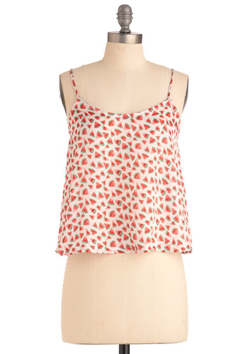 Something in the Watermelon Tank in White - Multi, Novelty Print, Casual, Spaghetti Straps, Fruits, White, Summer, Short