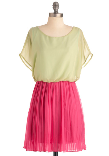 Love Me Duo Dress - Short, Pleats, Twofer, Short Sleeves, Green, Pink, Party, Sheer, Variation, Summer