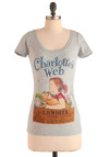 Novel Tee in Charlotte by Out of Print - Grey, Casual, Vintage Inspired, Short Sleeves, Multi, Multi, Novelty Print, Cotton, Mid-length