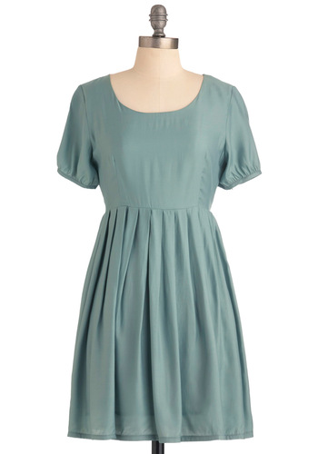 Com-pleat Harmony Dress - Mid-length, Green, Solid, Pleats, Short Sleeves, Casual, Vintage Inspired, Sheath / Shift
