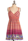 Shine Down on Me Dress - Short, Orange, Yellow, Purple, Print, Spaghetti Straps, Casual, Multi, Green, Pink, Empire, Summer