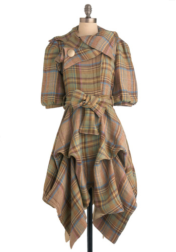 Wales Watching Coat - Long, Plaid, Vintage Inspired, Short Sleeves, Brown, Blue, 2.5, International Designer