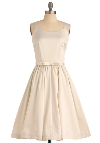 Gown Undah Dress - Long, Tank top (2 thick straps), Solid, Bows, A-line, Wedding, Party, Vintage Inspired, Cream, Pockets, 50s