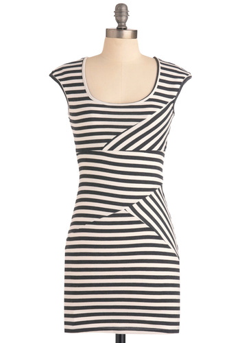 Stripe Your Interest Dress - Short, Stripes, Shift, Cap Sleeves, Urban, Black, White, Party, Mini