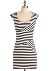 Stripe Your Interest Dress - Short, Stripes, Sheath / Shift, Cap Sleeves, Urban, Black, White, Party, Mini