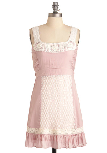 Fit to Be Tide Dress in Pearl - Short, Casual, Pink, White, Solid, Crochet, Pearls, Ruffles, Mini, Sheath / Shift, Tank top (2 thick straps)