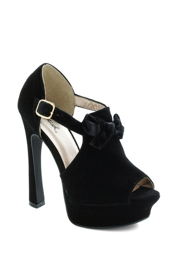 From Where You Stand Heel - Black, Solid, Bows, Party, Girls Night Out, Cocktail, Faux Leather, Platform, Peep Toe, High