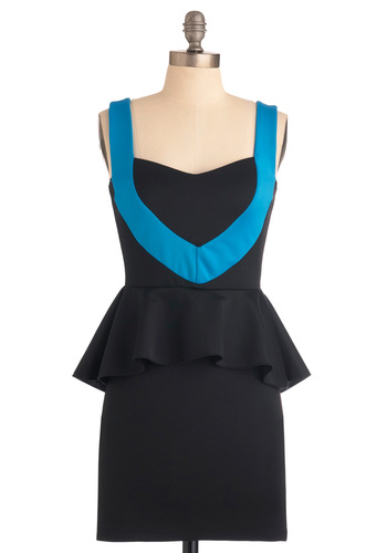 So Chic, So Sleek Dress - Short, Black, Blue, Ruffles, Tank top (2 thick straps), Party, Vintage Inspired, 80s, Shift, Pinup