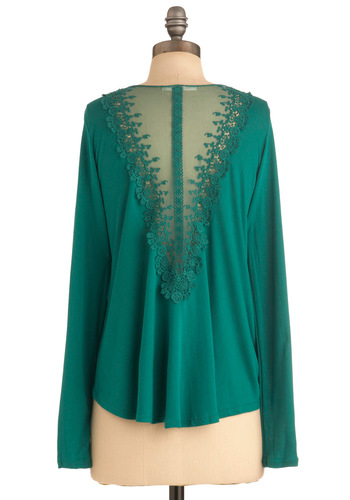 Believe in V Cardigan - Green, Solid, Lace, Casual, Long Sleeve, Short