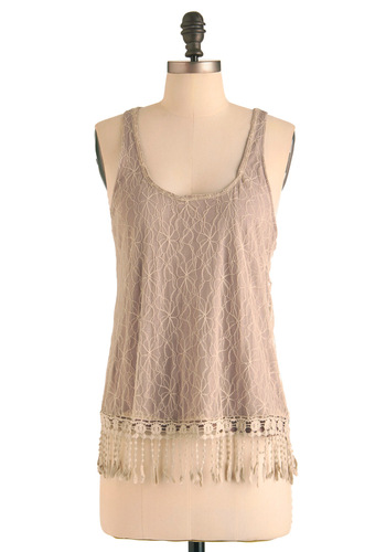 Tassel and Flow Top - Tan, Lace, Casual, Fringed, Boho, Racerback, Mid-length