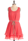 Pleats Be Mine Dress in Pink - Short, Pink, Solid, Pleats, Tiered, Party, Tent / Trapeze, Tank top (2 thick straps)