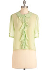 Light of Dawn Top in Honeydew - Short, Green, Solid, Ruffles, Work, Vintage Inspired, Short Sleeves, Buttons, Peter Pan Collar, 60s
