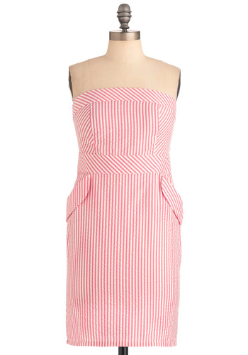 Candy Collection Dress - Pink, White, Stripes, Pockets, Empire, Strapless, Vintage Inspired, Party, Mid-length, Pinup