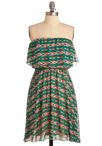 Friends Are Forever Dress - Casual, Vintage Inspired, 70s, Green, Multi, Red, Tan / Cream, Black, Stripes, Print, Mini, Shift, Strapless, Summer, Mid-length