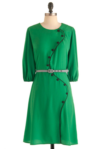 Swooping Sophistication Dress - Work, Casual, Vintage Inspired, Green, Black, Solid, Houndstooth, Buttons, 50s, A-line, 3/4 Sleeve, Mid-length, Exclusives, Belted