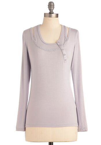Utili-Tee Top - Solid, Buttons, Casual, Long Sleeve, Purple, Mid-length