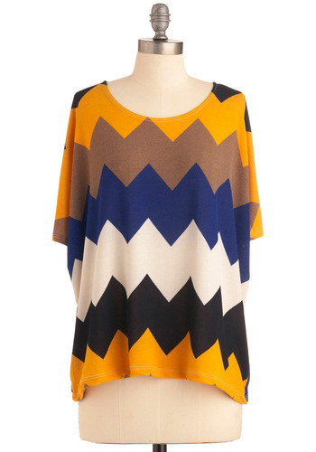 Peanut Gallery Panache Top - Mid-length, Casual, Short Sleeves, Yellow, Blue, Brown, Tan / Cream