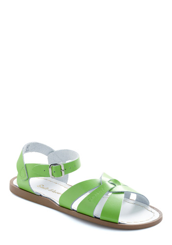 Outer Bank on It Sandal in Lime by Salt Water Sandals - Green, Solid, Casual, Summer