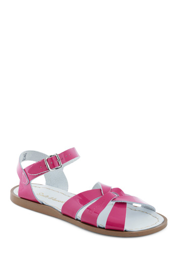 Outer Bank on It Sandal in Fuchsia by Salt Water Sandals - Pink, Solid, Casual, Summer, Flat, Leather