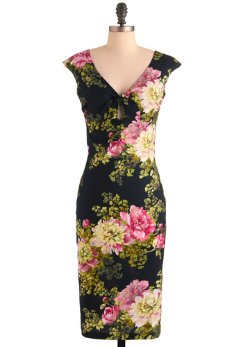 Deeply in Love Dress by Bernie Dexter - Long, Green, Pink, Floral, Sheath / Shift, Cap Sleeves, Party, Pinup, Vintage Inspired, Yellow, 60s, Black, Tie Neck, Cocktail, Cotton, V Neck