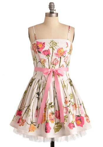 Betsey Johnson Antique Roses Dress - Short, Green, Floral, A-line, Strapless, Party, Multi, Pink, White, Tiered, Wedding, Mini