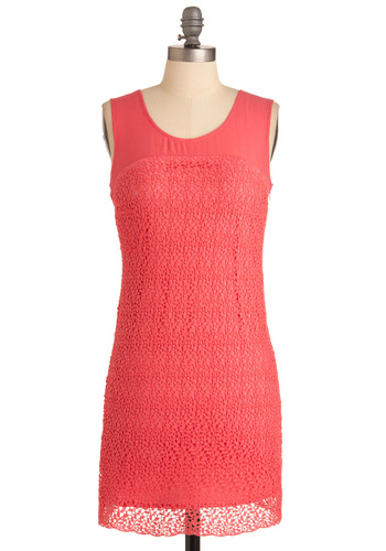 Vine and Dandy Dress - Short, Orange, Lace, Sheath / Shift, Casual, Solid, Sleeveless, Spring