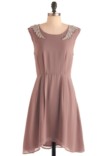 City Girl Rock Dress by Darling - Mid-length, Solid, Beads, Sheath / Shift, Cap Sleeves, Party, Vintage Inspired, Pink
