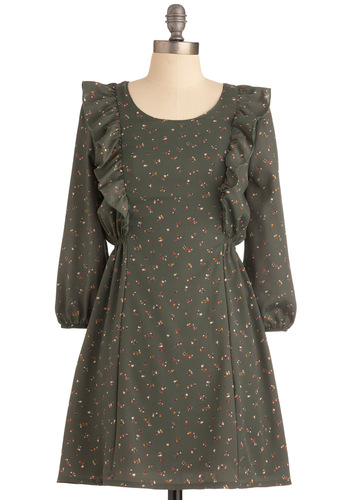 Farmhouse Fete Dress - Short, Green, Ruffles, A-line, Long Sleeve, Multi, Novelty Print, Work