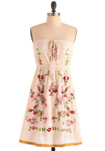 With Bells On Dress - Casual, Boho, Vintage Inspired, 70s, Cream, Multi, Red, Yellow, Green, Pink, Floral, Embroidery, Empire, Mini, Strapless, Summer, Mid-length