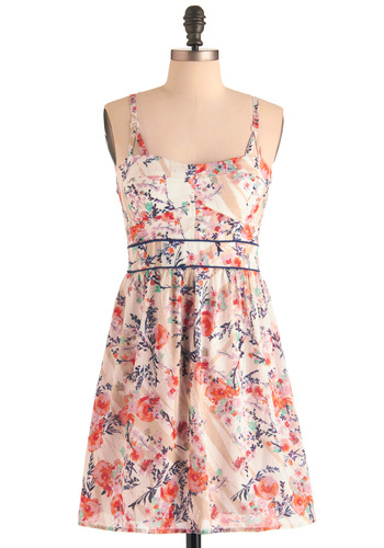 Something to Provence Dress - Floral, Spaghetti Straps, Multi, White, Multi, Casual, Shift, Summer, Short