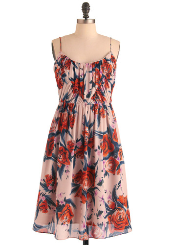 Party Bloom Dress by Corey Lynn Calter - Long, Blue, Pink, Floral, Spaghetti Straps, Multi, Orange, Party, A-line