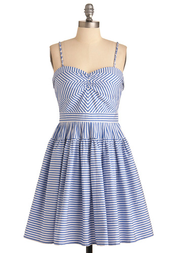 Take a Spin Dress - Mid-length, Stripes, A-line, Spaghetti Straps, Casual, Blue, White, Nautical, Summer