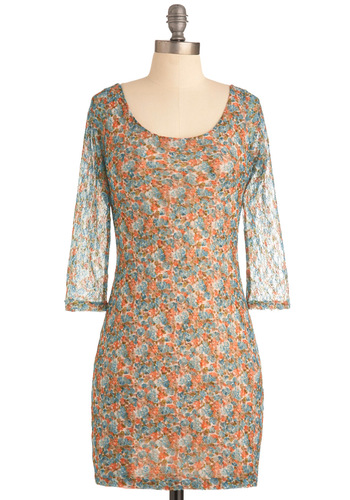 Dapple Feature Dress - Short, Green, Blue, Mini, Long Sleeve, Casual, Vintage Inspired, 90s, Orange, Floral, Lace, Sheath / Shift, Sheer
