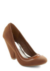 It's Never Too Latte Heel - Brown, Solid, Trim, Work, Faux Leather, High