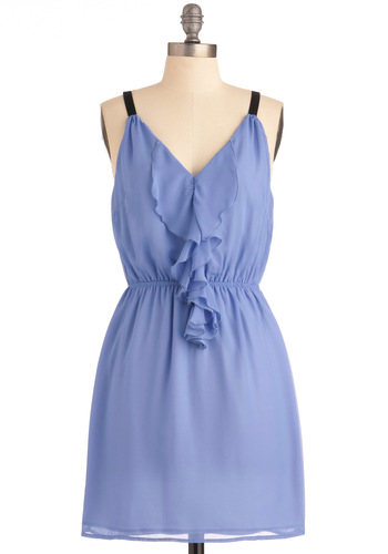 Look to the Future Dress in Periwinkle - Black, Solid, Ruffles, Purple, Party, Spaghetti Straps, Mid-length
