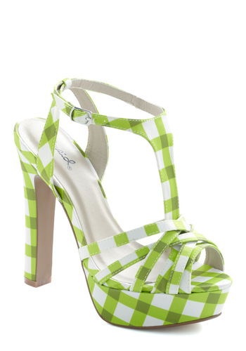 Lime Up Heel - Green, White, Checkered / Gingham, Party, Rockabilly, Summer, Platform, High